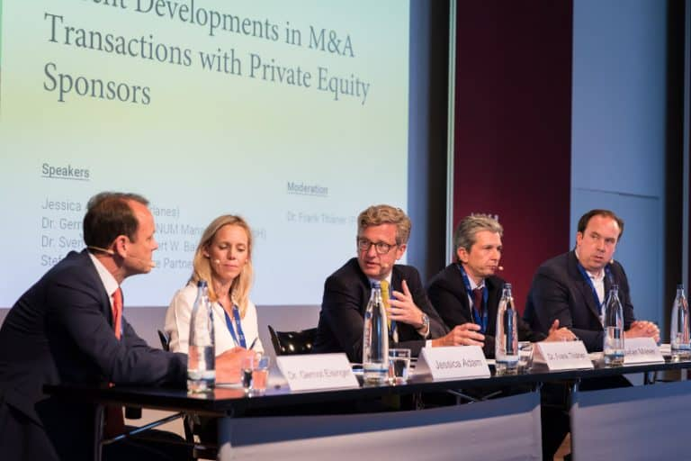 Dr Gernot Eisinger (Afinum), Jessica Adam (Macfarlanes), Stefan Maser (Equistone Partners) and Dr Sven Harmsen (Baird) discussed the topic as panel members. The M&A panel was led by Dr Frank Thiäner (P + P).
